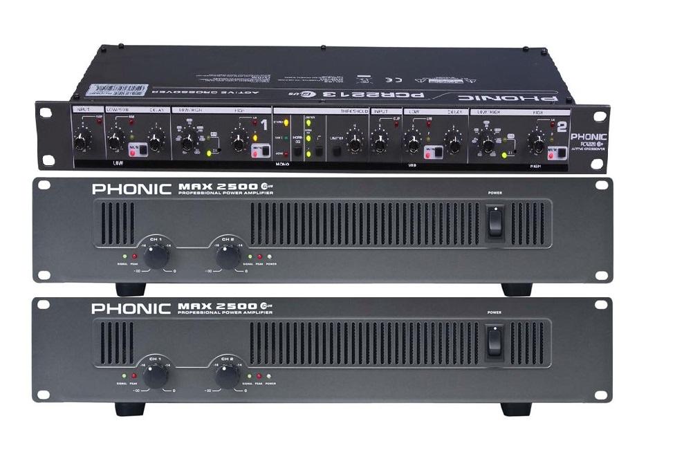 2x amplificatoare phonic max 2500 plus , si procesor phonic pcr 2213